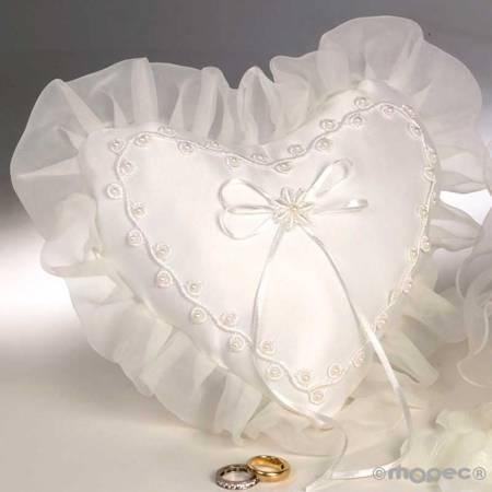 Cojín para alianzas con forma de corazón y perlas color marfil
