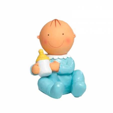 Figura de tarta para bautizo bebé azul con biberón