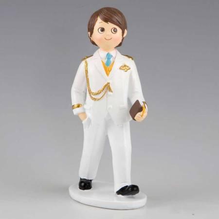Muñeco para el pastel de Primera Comunión niño con traje almirante blanco