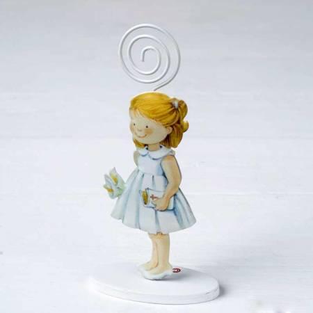 Portafoto metal niña con vestido blanco, 14 cm.
