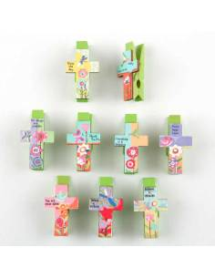 Pinza cruz para mensajes, 3,5 cm. Ideal para los detalles de comunión.