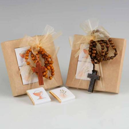 Colgante rosario con estuche de 2 napolitanas de chocolate