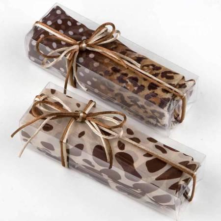 Foulard con estampado animal marrón/beige, en caja regalo