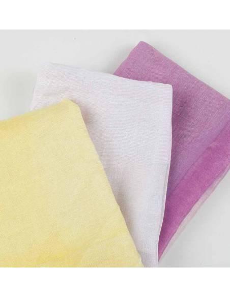 Foulard 3 tonos, blanco, lila y amarillo. Medida 160x51 cm.