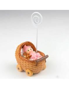 Portafoto bebé en cochecito rosa, 10 cm. Recuerdos para bautizos.