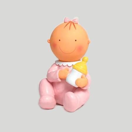 Figura de tarta para bautizo bebé rosa con biberón