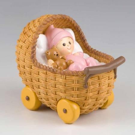 Figura para pastel con cochecito rosa. Para bautizo o babyshowers