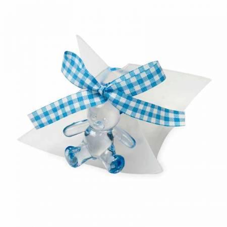 Estuche acetato con 5 peladillas, osita plástico, lazo vichy a azul y tarjeta personalizada.