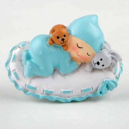 Imán bebé azul sobre almohada, detalles para bautizo