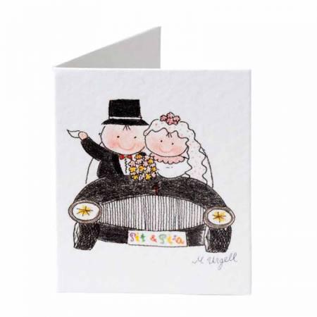 Tarjeta para los detalles, pareja de novios en coche.