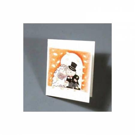 Novios bajo una lluvia de confeti, tarjeta para personalizar los detalles de boda.