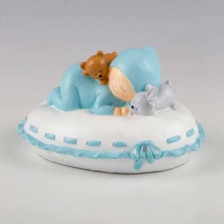 Figura para tarta de bautizo bebe con muñecos sobre almohada