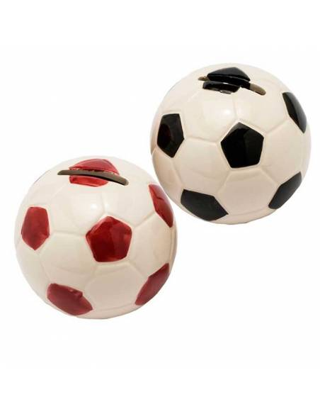 Hucha pelota roja y negra, de porcelana, 8 cm de diametro