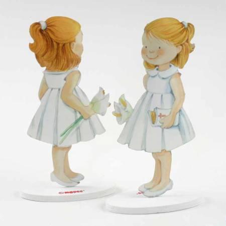 Muñeco para el pastel de primera comunión en metal niña vestido corto