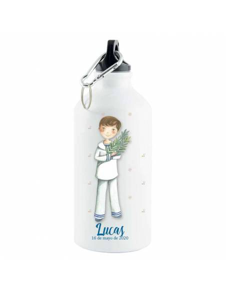 Botella de aluminio termo personalizada Primera Comunión niño con espiga