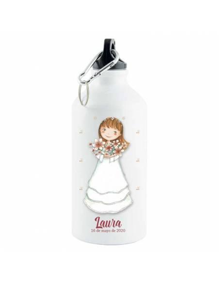 Botella de aluminio termo personalizada Primera Comunión niña con flores