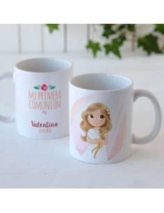 Mug o taza niña con paloma, recuerdo para comunión personalizado
