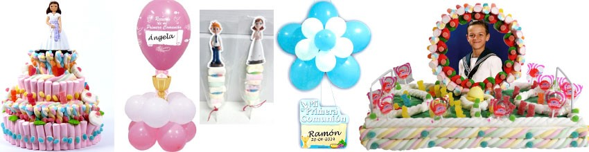 Complemento para comunión, tartas de chuches, globos, centros de mesa...