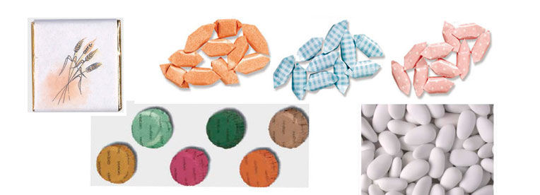 Napolitanas, bombones, caramelos y peladillas para acompañar los detalles de los invitados