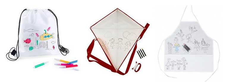 Detalles infantiles: cometas, mochilas y delantales para pintar