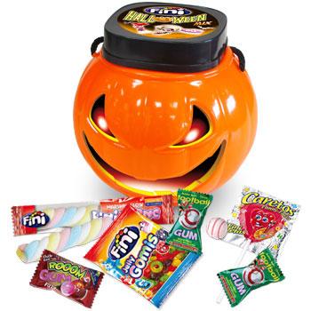Calabaza con chuches para Halloween