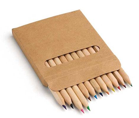 Caja con 12 lápices colores madera