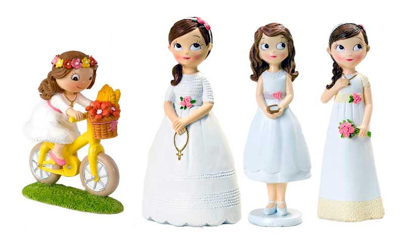 Figuras de niñas en traje de comunión