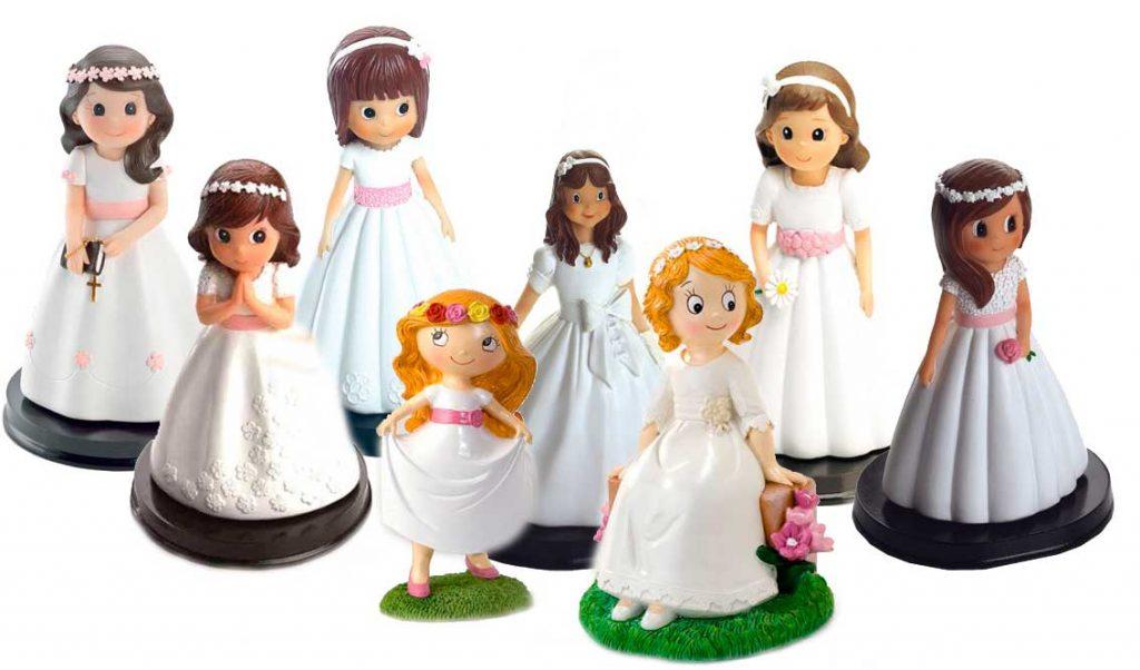 Figuras niñas en traje de comunión para la tarta