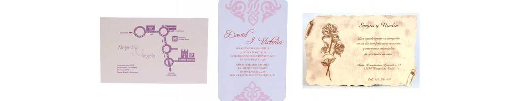 Tarjetas de visita o plano y agradecimiento para bodas o eventos