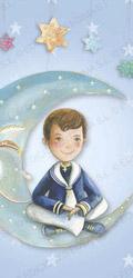 Niño marinero sentado en la luna