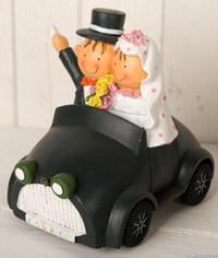 Figura para el pastel de bodas, Pit y Pita novios en coche