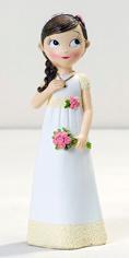 Figura para tarta niña Comunión romántica con ramo de flores
