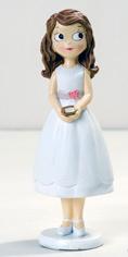 Figura niña Comunión con vestido corto, ideal para la tarta