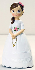 Figura para tarta niña Comunión con rosario y coleta