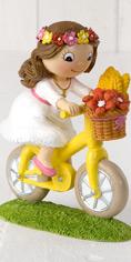 Figura para la tarta Comunión niña en bici