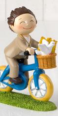 Figura para la tarta Comunión niño en bici