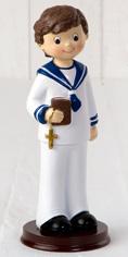 Figura tarta Comunión niño con biblia y cruz